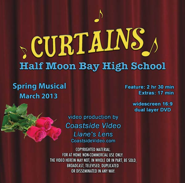 Curtains, HMB High School play, DVD cover image, by Coastside Video and Lianes Lens