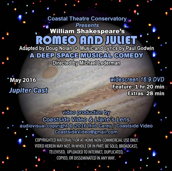 Romeo and Juliet, Coastal Rep play, Jupiter cast DVD cover image, by Coastside Video and Liane's Lens