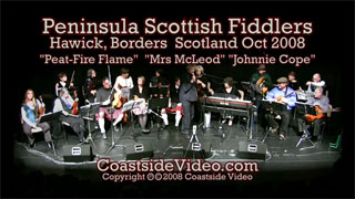 video: Peninsula Scottish Fiddlers - Peat-Fire Flame set in Scotland - Link Peat-Fire Flame set